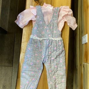 Vintage baby two piece outfit 24 month quilted